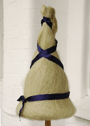 Cone distaff dressed with flax